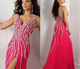 Crystal Prom Dresses 2016 V-Neck Sleeveless Backless Sweep Train Split Side Chiffon with Crystal Mermaid Formal Dress Party Gowns 2015