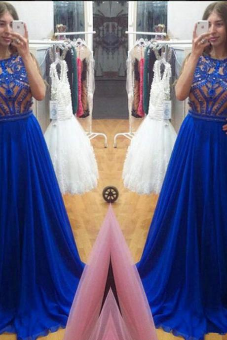 Chiffon A Line Prom Dresses Crystals Jewel Evening Party Gowns
