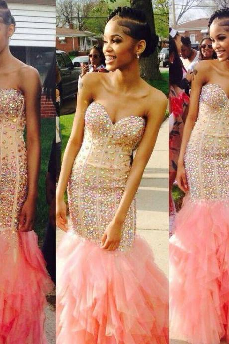 2017 Mermaid Evening Dresses Sweetheart Sleeveless Crystals Long Prom Party Gowns Custom Women Gowns