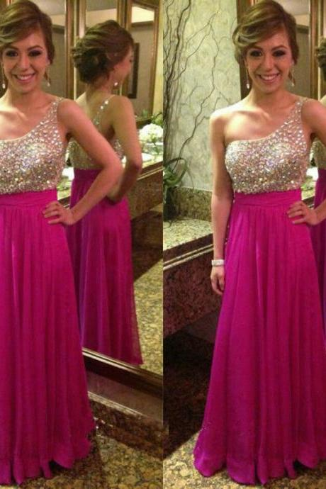 One Shoulder Prom Dresses 2016 Sleeveless Backless Floor Length Chiffon with Crystal Women Dresses Formal Dress 2015