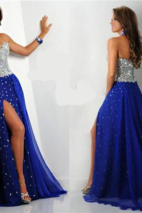 Crystal Prom Dresses,2017 Prom Dresses,Long Prom Dresses,Spilt Side Party Dresses,Prom Dresses 2017,Chiffon Prom Dress,A-line Formal Dresses