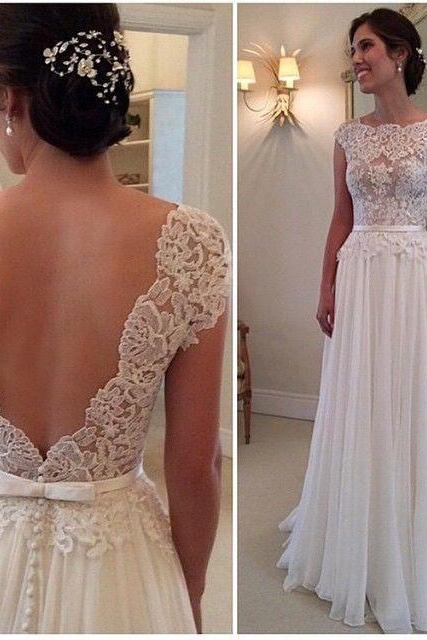 Wedding Dresses,Bridal Gowns,Bridal Dresses,2017 Wedding Dresses,A-line Short Sleeve Women Gowns,Open Back Floor Length Wedding Gowns,Custom Size