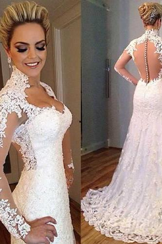 2017 New Arrive Sweetheart Long Sleeve Lace Mermaid Wedding Dresses Applique Open Back Sweep Train Wedding Gowns Custom