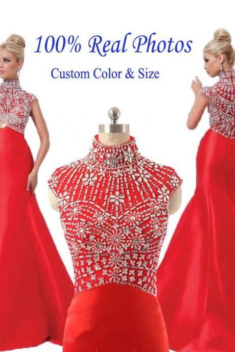 Real Photos Custom Made Mermaid Formal Dresses 2017 High Neck Cap Sleeve Zipper Sexy Satin with Crystal 2017 Beaded Prom Dresses Women Dresses