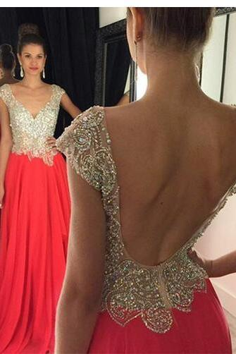 Robe De Soiree Courte Sexy Backless Red Formal Evening Dresses 2016 Plus Size V-Neck Crystal Beaded Women Party Gowns Cheap Prom Gowns Custom Size