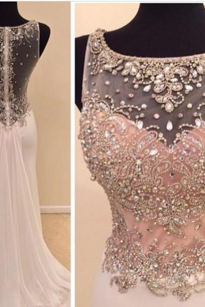 Dreamdresses 2016 long evening dresses ,crewneck Crystals Mermaid Chiffon Evening Prom Gowns,Custom Made Pagaent Gowns