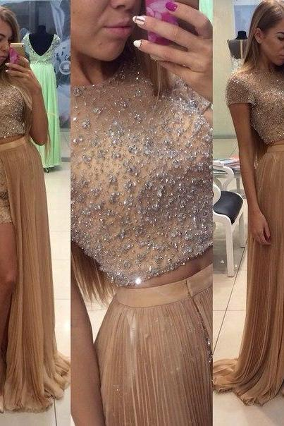 2016 Two Pieces Evneing Dresses Short Sleeve Crystals Beaded Long Prom Gowns,Tulle Jewel Leg Side Evening Dresses.Party Gowns,Bridesmaid Gowns,Plus Side Prom Gowns