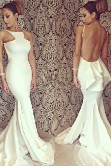 2016 Sexy Mermaid Evening Dresses Open Back Long Bridal Gowns,Custom Size 2-4-6-8-10-12-14-16 Prom Gowns,Sleeveless Chiffon Bridesmaid Gowns