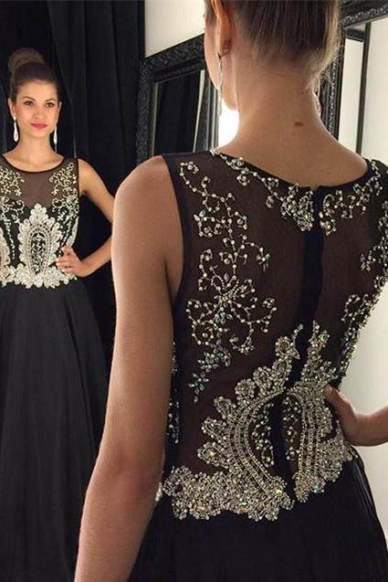 2017 Black A-line Evening Dresses,Sleeveless Crystals Long Prom Dresses Floor-length Formal Gowns,Crewneck Chiffon Evening Gowns