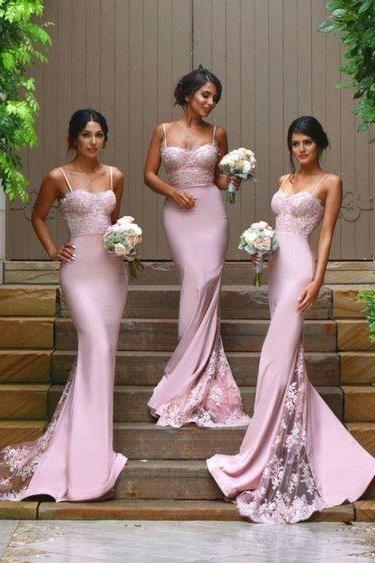 2017 Pink Chiffon Long Bridesmaid Dresses,Sleeveless Sweetheart Lace Evening Dresses,Floor-length Prom Dresses,Custom Made Bridal Gowns