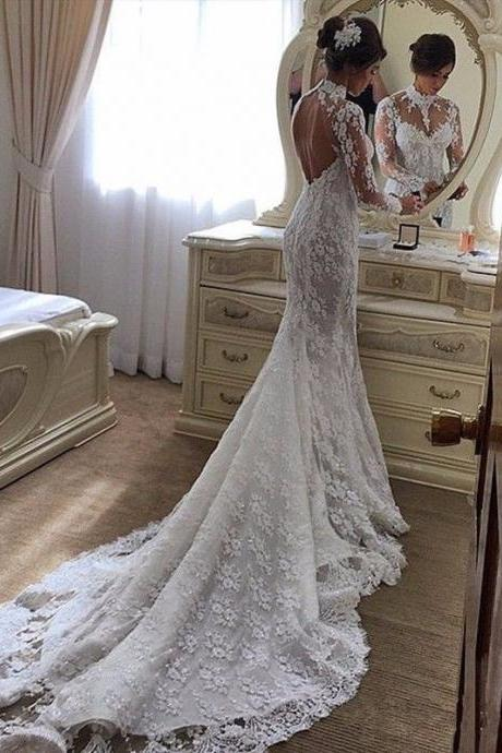 Mermaid Lace Wedding Dresses High Neck Open Back Illusion Wedding Gowns Sweep Train Bridal Gowns